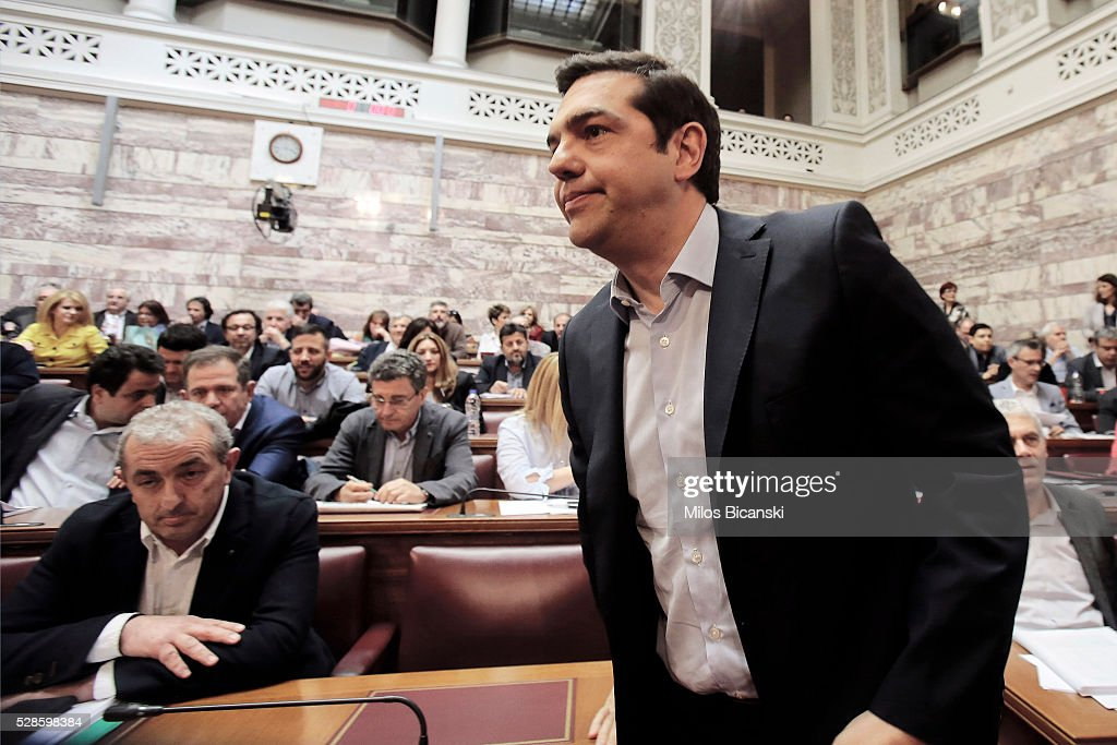 Greek Prime Minister Alexis Tsipras attends his party Lawmakers meeting inside the Greek Parliament on May 6, 2016 in Athens, Greece. Unions called the strike to protest against pension reforms that are part of Greece's third international bailout.