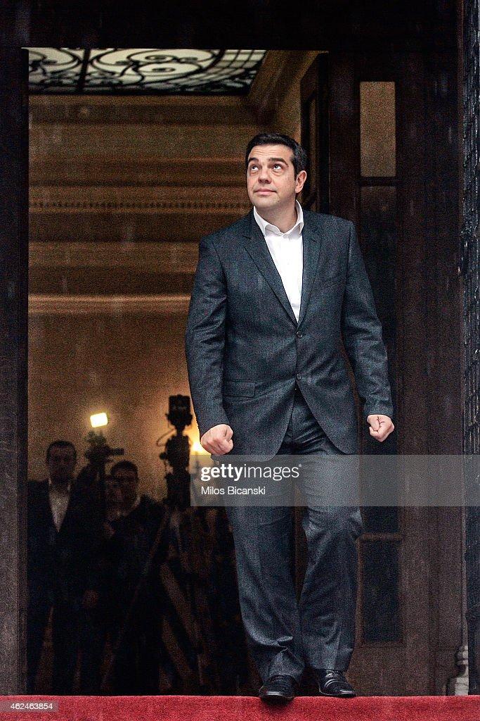 Greek Prime Minister Alexis Tsipras Meets President Of The European Parliament Martin Schulz