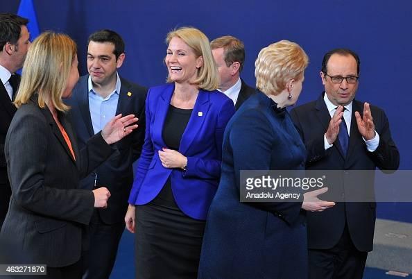 Greek Prime Minister Alexis Tsipras Danish President Helle ThorningSchmidt Lithuanian President Dalia Grybauskaite and French President Francois...