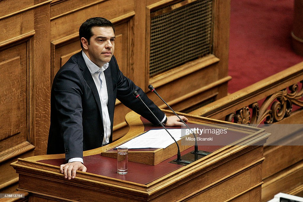 Greek Prime Minister <a gi-track='captionPersonalityLinkClicked' href=/galleries/search?phrase=Alexis+Tsipras&family=editorial&specificpeople=6592450 ng-click='$event.stopPropagation()'>Alexis Tsipras</a> delivers a speech during a parliamentary session in Athens, Greece June 28, 2015 . Greece's fraught bailout talks with its creditors took a dramatic turn early Saturday, with the radical left government announcing a referendum in just over a week on the latest proposed deal .