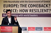 Greek Prime Minister Alexis Tsipras devliers a speech during the Economist conference entitled 'Europe The comeback Greece How resilient' in Athens...