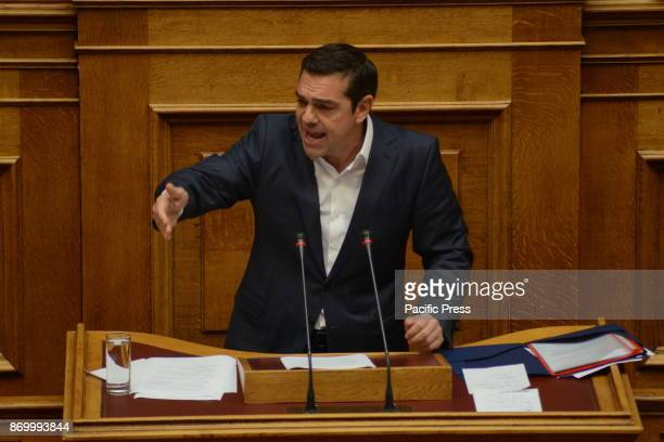 PARLIAMENT ATHENS ATTIKI GREECE Greek Prime Minister Alexis Tsipras during his speech in Hellenic Parliament