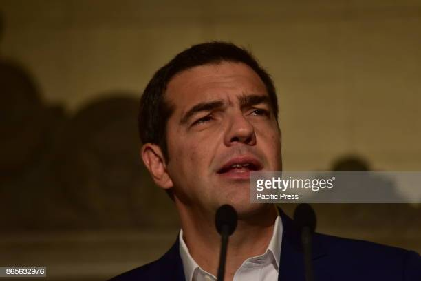 MANSION ATHENS ATTIKI GREECE Greek Prime Minister Alexis Tsipras during the press conference with the Prime Minister of South Korea Lee Nak Yon