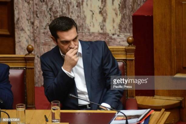 PARLIAMENT ATHENS ATTIKI GREECE Greek Prime Minister Alexis Tsipras during the speech of Kyriakos Mitsotakis leader of the main opposition and...