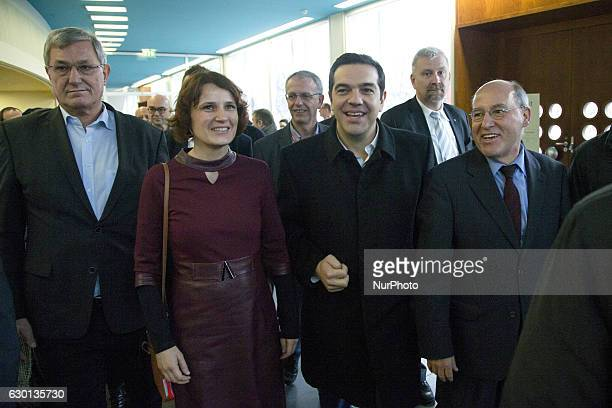 Greek Prime Minister Alexis Tsipras german politician Gregor Gysi and Coleaders of Die Linke party Bernd Riexinger and Katja Kipping are pictured as...