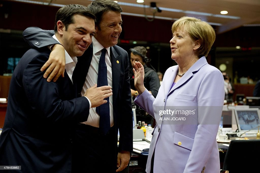 Greek prime minister <a gi-track='captionPersonalityLinkClicked' href=/galleries/search?phrase=Alexis+Tsipras&family=editorial&specificpeople=6592450 ng-click='$event.stopPropagation()'>Alexis Tsipras</a>(L), his Italian counterpart Matteo Renzi (C) and German Chancellor Angela Merkel share a light moment before the start of a round table meeting as part on an EU summit at the EU headquarters in Brussels on June 25, 2015. Talks between eurozone finance ministers broke up without agreeing on a Greek debt deal, with a new meeting due in coming days, Finland's Alexander Stubb said. JOCARD