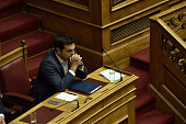 PARLIAMENT ATHENS ATTIKI GREECE Greek Prime Minister Alexis Tsipras is listening to the speech of President of Hellenic Parliament Nikos Voutsis who...