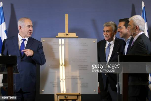 Greek Prime Minister Alexis Tsipras Israeli Prime Minister Benjamin Netanyahu the Mayor of Thessaloniki Giannis Boutaris and the president of Israeli...