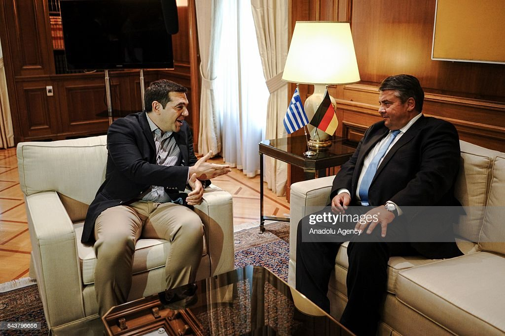 Greek Prime Minister Alexis Tsipras (L) meets German Economic Affairs and Energy Minister and Vice Chancellor, Sigmar Gabriel (R) at the Maximos Mansion in Athens, Greece on June 30, 2016.