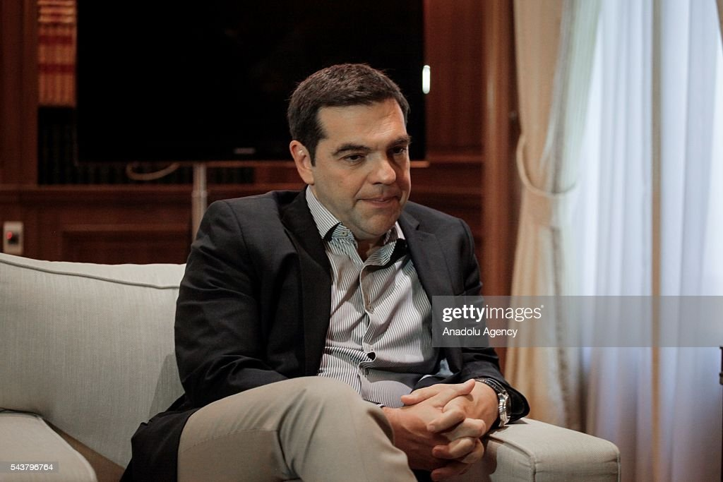 Greek Prime Minister Alexis Tsipras meets German Economic Affairs and Energy Minister and Vice Chancellor, Sigmar Gabriel (not seen) at the Maximos Mansion in Athens, Greece on June 30, 2016.
