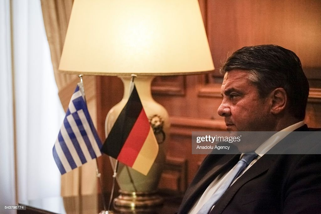 Greek Prime Minister Alexis Tsipras (not seen) meets German Economic Affairs and Energy Minister and Vice Chancellor, Sigmar Gabriel at the Maximos Mansion in Athens, Greece on June 30, 2016.