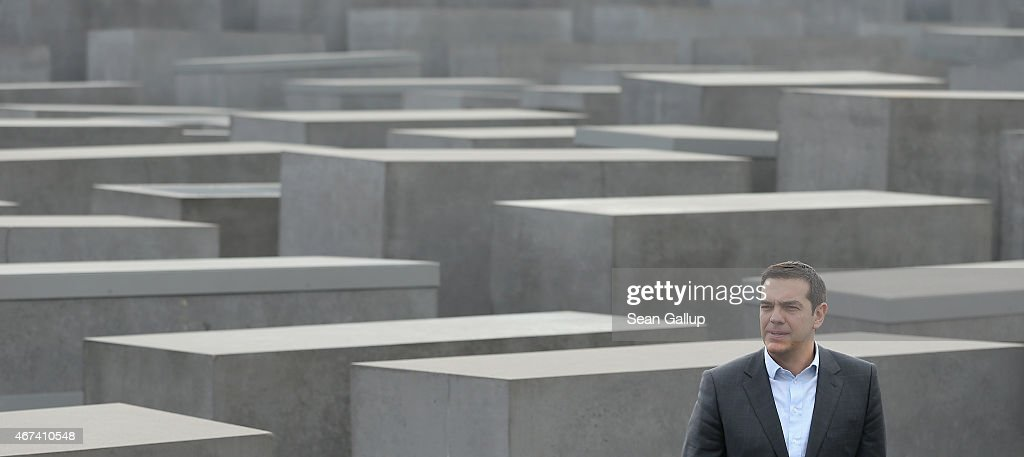 Greek Prime Minister Alexis Tsipras stands among the stellae of the Memorial to the Murdered Jews of Europe also called the Holocaust Memorial on the...