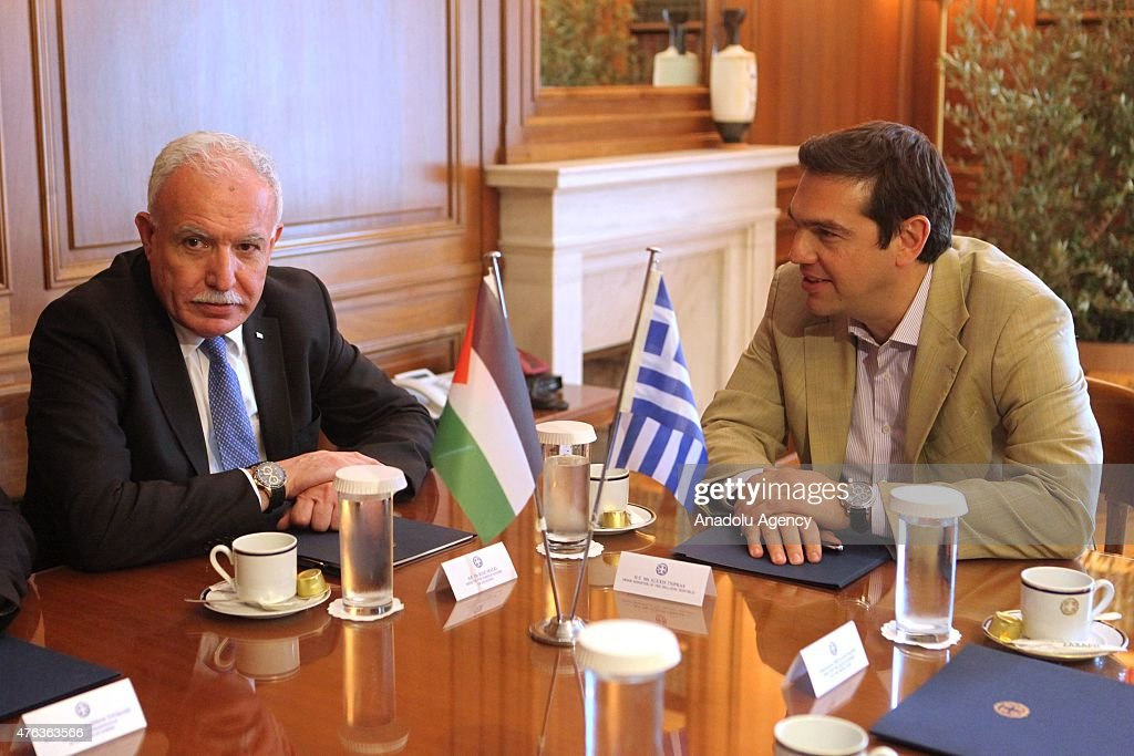 Greek Prime Minister <a gi-track='captionPersonalityLinkClicked' href=/galleries/search?phrase=Alexis+Tsipras&family=editorial&specificpeople=6592450 ng-click='$event.stopPropagation()'>Alexis Tsipras</a> (R) talks with Palestinian Foreign Minister <a gi-track='captionPersonalityLinkClicked' href=/galleries/search?phrase=Riyad+al-Maliki&family=editorial&specificpeople=4534561 ng-click='$event.stopPropagation()'>Riyad al-Maliki</a> (L) during their meeting in Athens, Greece, 08 June, 2015. <a gi-track='captionPersonalityLinkClicked' href=/galleries/search?phrase=Riyad+al-Maliki&family=editorial&specificpeople=4534561 ng-click='$event.stopPropagation()'>Riyad al-Maliki</a> is on an official visit to Greece.