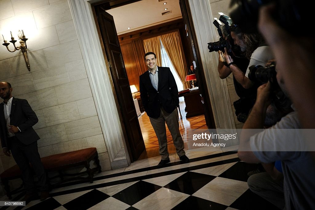 Greek Prime Minister Alexis Tsipras waits for German Economic Affairs and Energy Minister and Vice Chancellor, Sigmar Gabriel (not seen) at the Maximos Mansion in Athens, Greece on June 30, 2016.