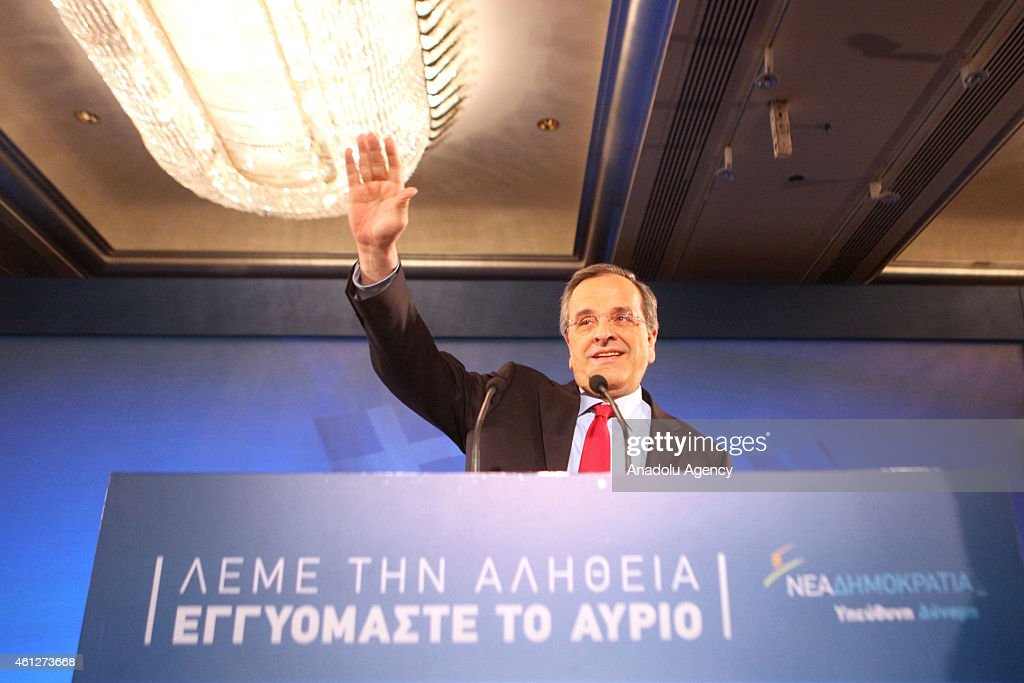 Greek Prime Minister and leader of the Nea Dimokratia party <a gi-track='captionPersonalityLinkClicked' href=/galleries/search?phrase=Antonis+Samaras&family=editorial&specificpeople=970799 ng-click='$event.stopPropagation()'>Antonis Samaras</a> delivers a speech within his election campaign for early general elections in Athens on January 10, 2015.