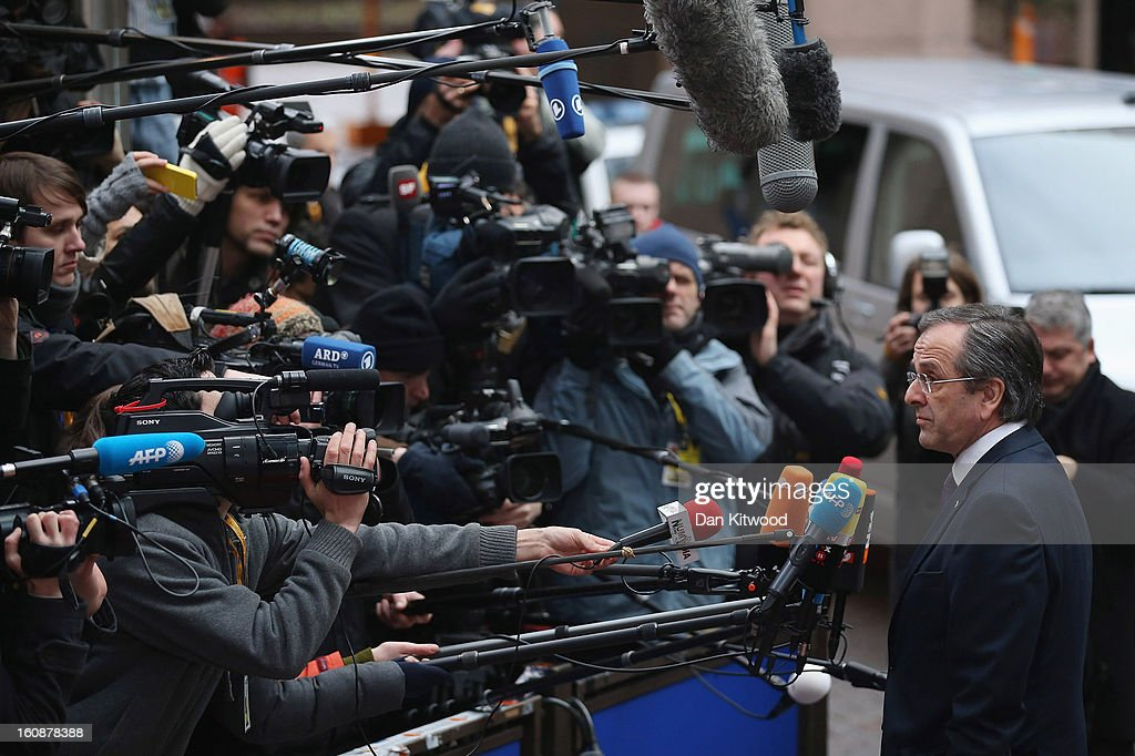 Greek Prime Minister Antonis Samaras arrives for the start of the European Council Meeting on February 7, 2013 in Brussels, Belgium. The President of the European Council, Herman Van Rompuy has announced that he will aim to reach an agreement on the EU's 2014-2020 budget during the two-day summit, which takes place on February 7 and 8. Cameron is expected to demand further cuts or a freeze to EU spending to reflect the national austerity measures implemented across Europe, amid stiff opposition from EU funded countries.