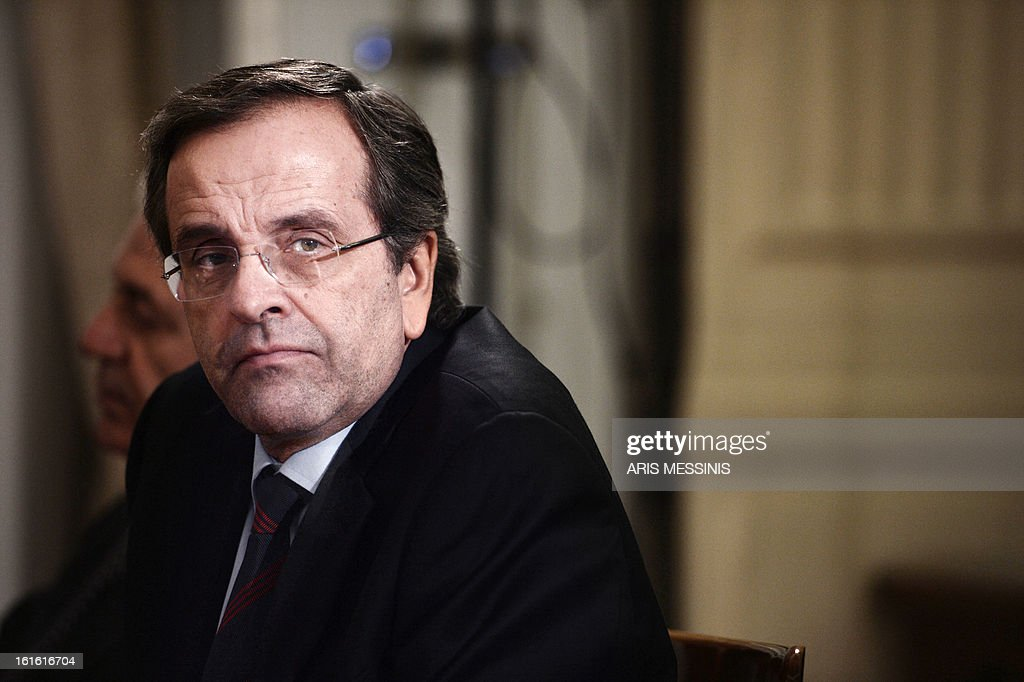 Greek Prime Minister Antonis Samaras attends on February 13, 2013 the signing ceremony of the Trans Adriatic gas pipeline in Athens. Greece, Italy and Albania signed a deal on backing for the Trans Adriatic Pipeline (TAP) project to carry natural gas from Azeri fields to Europe.