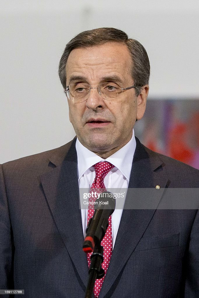Greek Prime Minister <a gi-track='captionPersonalityLinkClicked' href=/galleries/search?phrase=Antonis+Samaras&family=editorial&specificpeople=970799 ng-click='$event.stopPropagation()'>Antonis Samaras</a> gives statements to the media following a meeting with German Chancellor Angela Merkel at the Chancellery on January 8, 2013 in Berlin, Germany. Samaras and Merkel discussed Greece's progress in its economic reforms. Samaras is scheduled to attend an economic conference organized by a German newspaper later in the day.