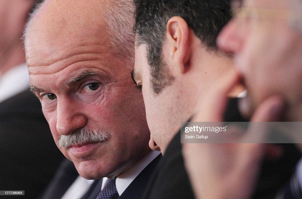 Greek Prime Minister George Papandreou attends a convention of the Federation of German Industry (BDI), where he spoke in an appeal for more German investment in Greece, on September 27, 2011 in Berlin, Germany. Papandreou later met with German Chancellor Angela Merkel over the current Greek debt crisis that is threatening the stability of the Euro.