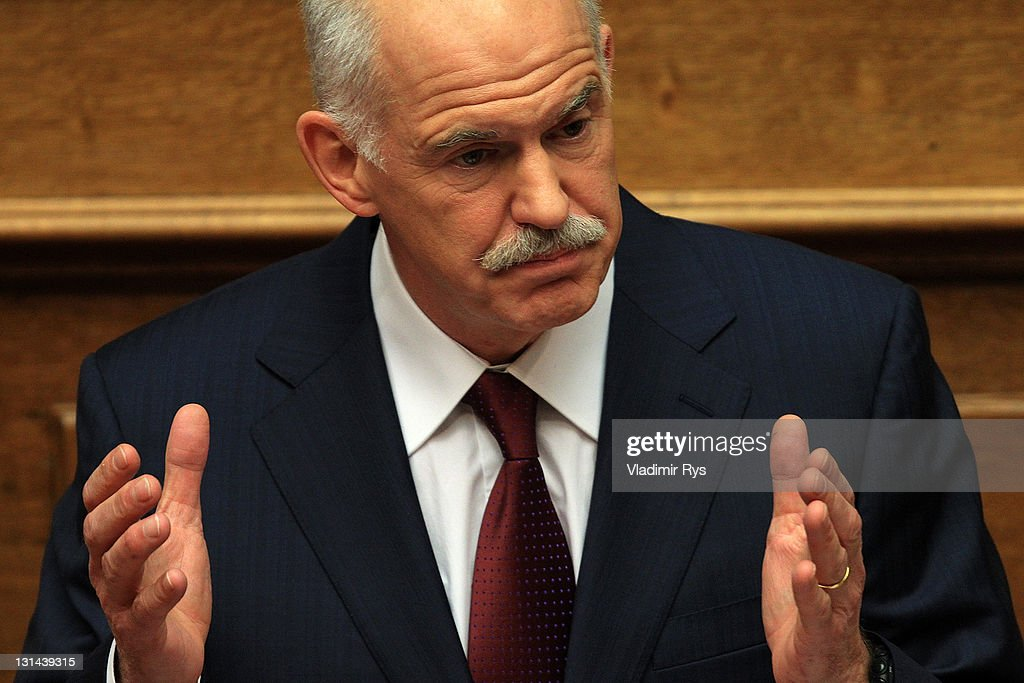 Greek Prime Minister George Papandreou delivers his speech ahead of the confidence vote in his government, in the Greek parliament on November 04, 2011 in Athens, Greece. A positive end of the confidence vote is key to Greece receiving a financial aid package worth 130 billion Euros from the E.U. Without this deal sources say Greece will run out of money by the middle of December.