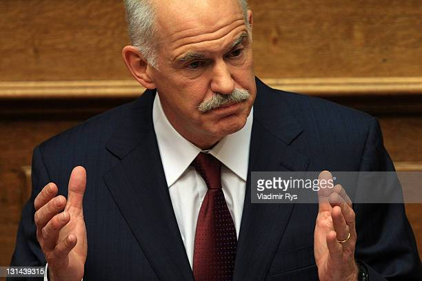 Greek Prime Minister George Papandreou delivers his speech ahead of the confidence vote in his government in the Greek parliament on November 04 2011...