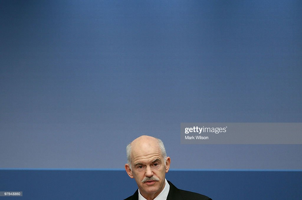 Greek Prime Minister <a gi-track='captionPersonalityLinkClicked' href=/galleries/search?phrase=George+Papandreou&family=editorial&specificpeople=212855 ng-click='$event.stopPropagation()'>George Papandreou</a> speaks at the Brookings Institution on March 8, 2010 in Washington, DC. Prime Minister Papandreou spoke about relations between Greece and the United States and the current economic situation in Greece.