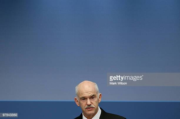 Greek Prime Minister George Papandreou speaks at the Brookings Institution on March 8 2010 in Washington DC Prime Minister Papandreou spoke about...