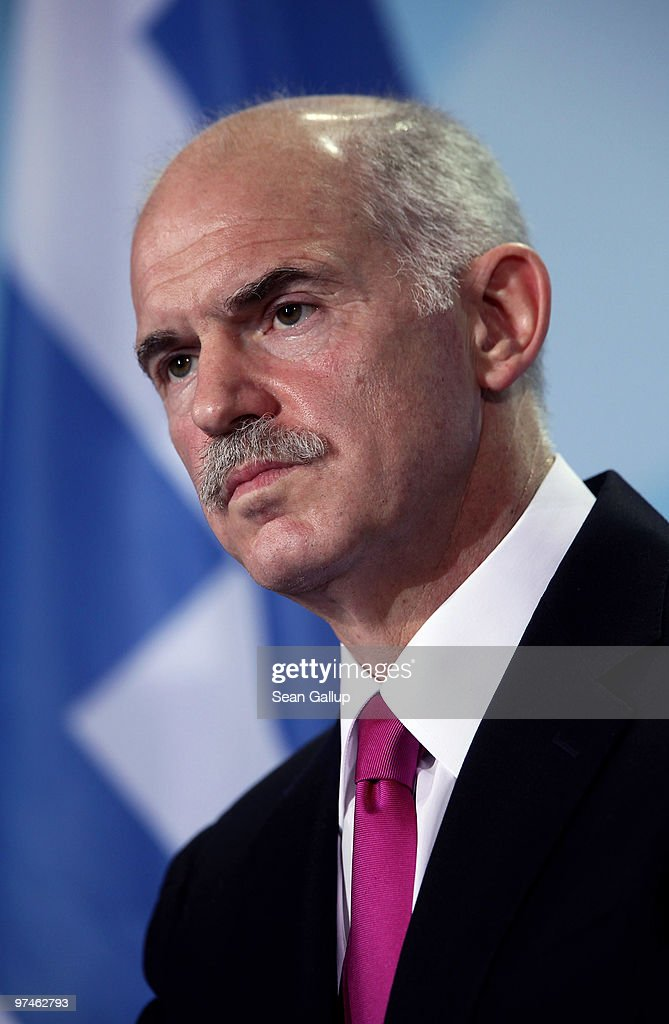 Greek Prime Minister <a gi-track='captionPersonalityLinkClicked' href=/galleries/search?phrase=George+Papandreou&family=editorial&specificpeople=212855 ng-click='$event.stopPropagation()'>George Papandreou</a> speaks to the media following talks with German Chancellor Angela Merkel at the Chancellery (Bundeskanzleramt) on March 5, 2010 in Berlin, Germany. Papandreou and Merkel discussed Greece's current economic woes that are destabilizing the Euro zone.