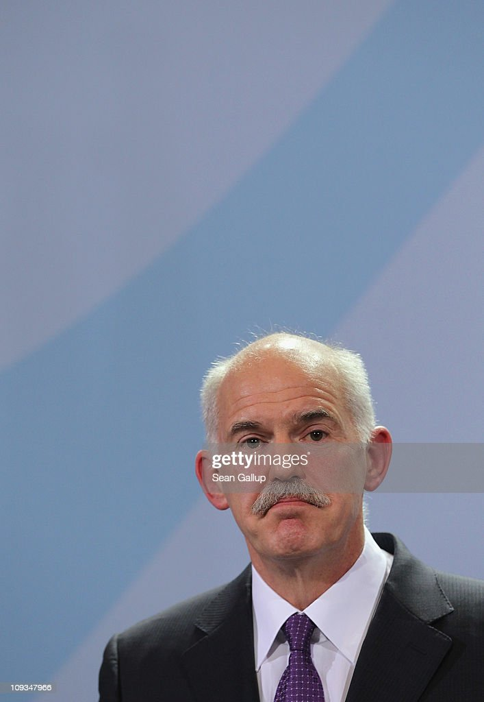 Greek Prime Minister George Papandreou speaks to the media with German Chancellor Angela Merkel after talks at the Chancellery on February 22, 2001 in Berlin, Germany. Papandreou is seeking Merkel's support for the repayment period of Greece's 110 billion Euro crisis loan beyond 2016 and a reduction of the 5% interest rate, as well as to discuss details on a proposed set of measures to help Eurozone members in the future who run into financial hardship.