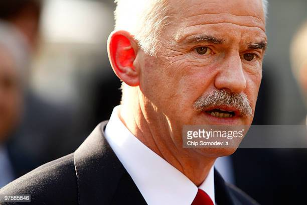 Greek Prime Minister George Papandreou takes questions from members of the news media after a meeting at the White House March 9 2010 in Washington...