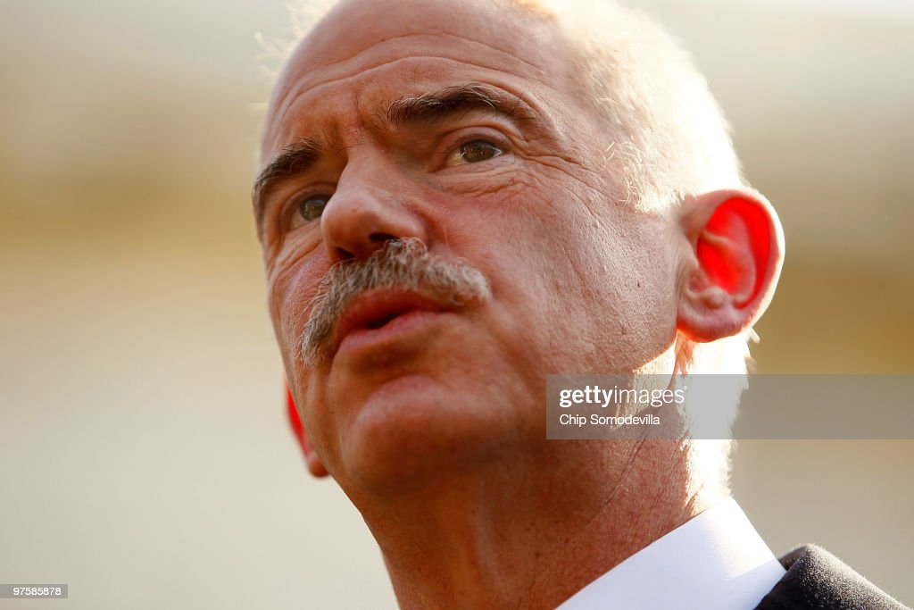 Greek Prime Minister <a gi-track='captionPersonalityLinkClicked' href=/galleries/search?phrase=George+Papandreou&family=editorial&specificpeople=212855 ng-click='$event.stopPropagation()'>George Papandreou</a> takes questions from members of the news media after a meeting at the White House March 9, 2010 in Washington, DC. Papandreou met with President Barack Obama and other U.S. leaders and asked for help in pulling out of a major financial crisis and reforming the Greek economy. He has also encouraged U.S. authorities to continue investigations into possible currency manipulation involving the euro.