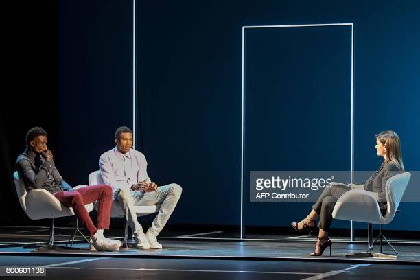 Greek professional basketball players brothers Giannis and Thanasis Antetokounmpo attend an interview hosted by Afroditi Panagiotakou at the Onassis...