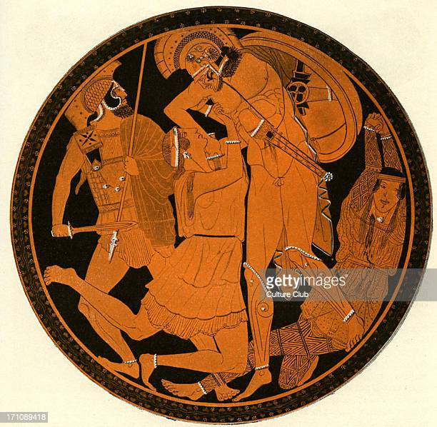 Greek red figure vase showing Achilles slaying the Amazon Penthisilea in battle After a painting by Polygnotos Athenian circa 5th century BCE