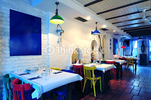 Greek restaurant interior stock photo thinkstock