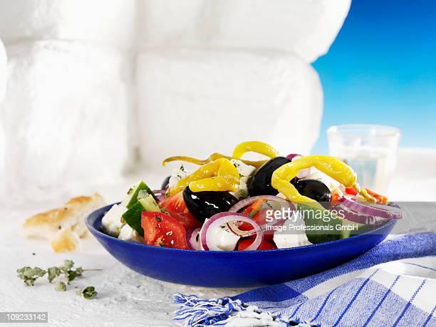 Greek salad in bowl, close-up