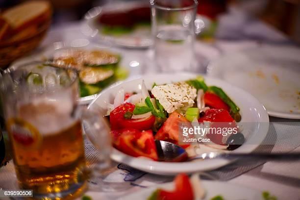 Greek salad on table in Taverna