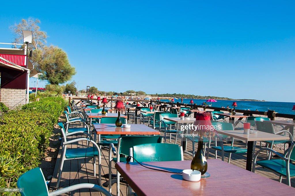 Griechisches restaurant am Meer. : Stock-Foto