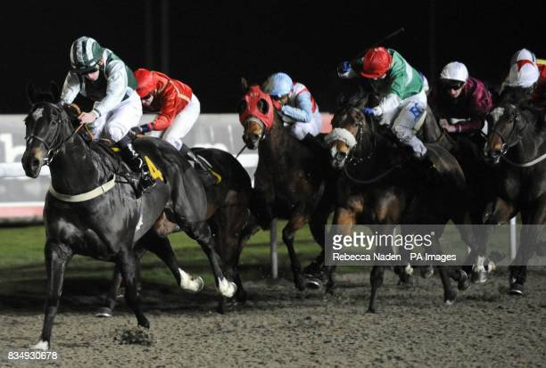 Greek Secret ridden by James O'Reilly wins The Book Kempton Tickets On 0844 579 3008 CLassified Stakes at Kempton Park Racecourse London