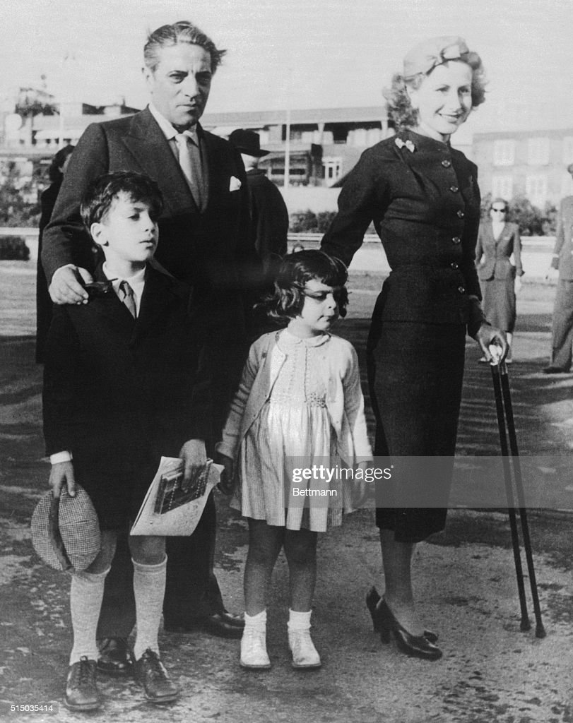 Greek shipping magnate <a gi-track='captionPersonalityLinkClicked' href=/galleries/search?phrase=Aristotle+Onassis&family=editorial&specificpeople=217821 ng-click='$event.stopPropagation()'>Aristotle Onassis</a> is shown with his wife Tina and their children Alexander and Christina at the launching of one of his new tankers.