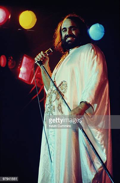 Greek singer Demis Roussos performs on stage at the Belle Vue in Manchester England on October 17 1976