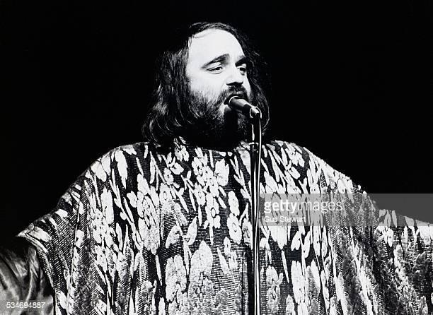 Greek singer Demis Roussos performs on stage in London circa 1976