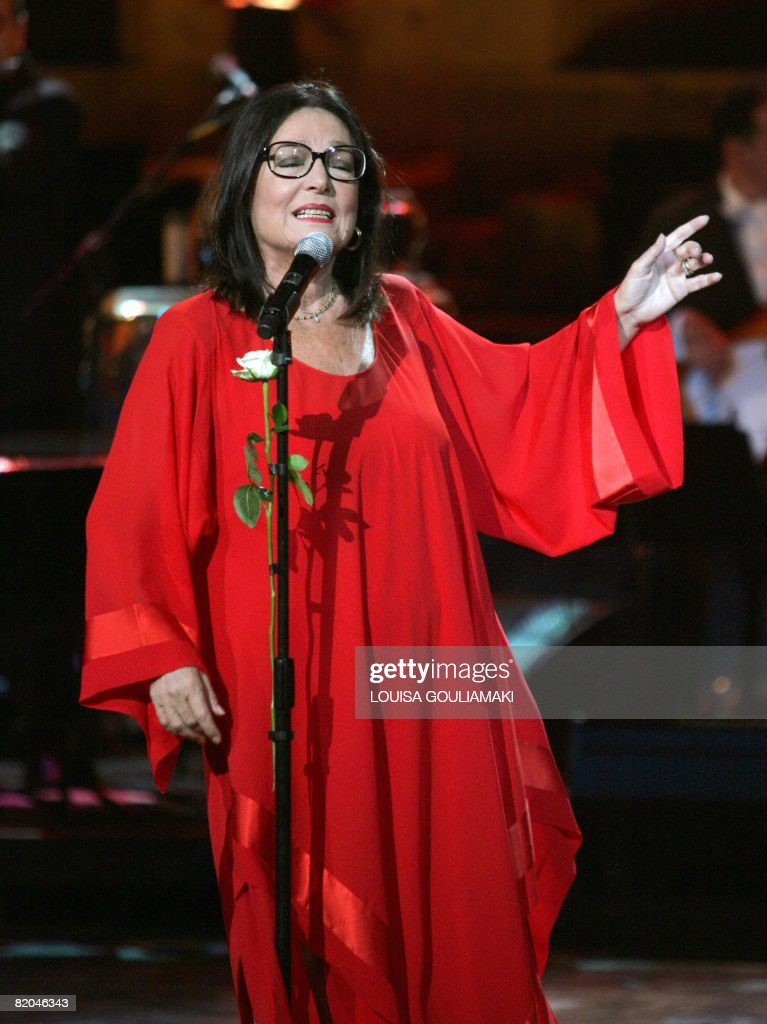 Greek singer nana mouskouri performs in a tribute concert at the