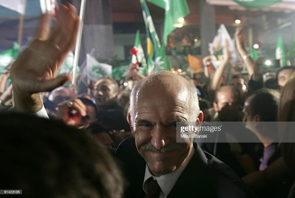 Greek socialist party leader <a gi-track='captionPersonalityLinkClicked' href=/galleries/search?phrase=George+Papandreou&family=editorial&specificpeople=212855 ng-click='$event.stopPropagation()'>George Papandreou</a> arrives to speak to supporters of the Panhellenic Socialist Movement (PASOK) after the party won in general elections on October 4, 2009 in Athens, Greece. The Greek socialists led by <a gi-track='captionPersonalityLinkClicked' href=/galleries/search?phrase=George+Papandreou&family=editorial&specificpeople=212855 ng-click='$event.stopPropagation()'>George Papandreou</a>, replacing outgoing conservative PM Costas Karamanlis, have scored a resounding victory in Sunday's snap general elections.