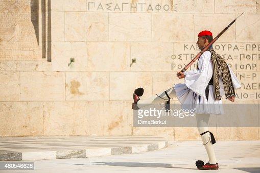 Greek soldiers Evzones dressed in full dress uniform : Stock Photo