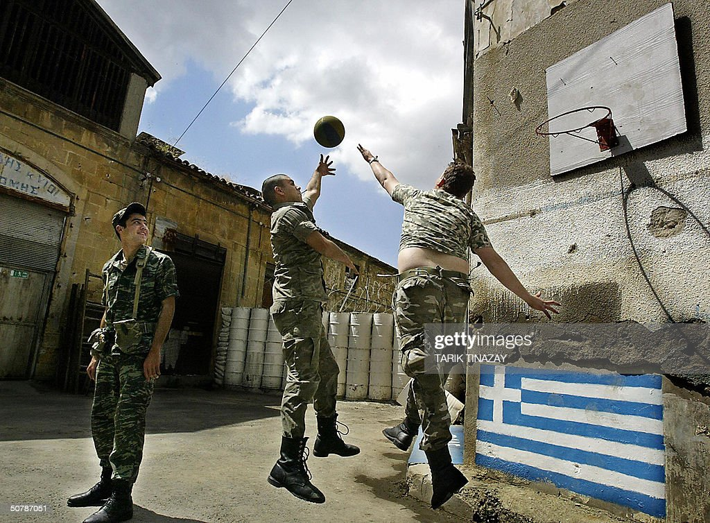 Greek soldiers play basketball near the Pictures | Getty Images