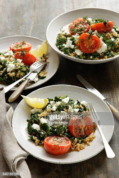 Greek spinach rice with tomatoes and feta Jill Dupleix