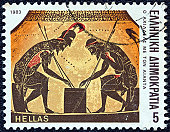 """Greece - circa 1983: A stamp printed in Greece from the """"Homeric epics"""" issue shows Achilles throwing dice with Ajax (jar)"""