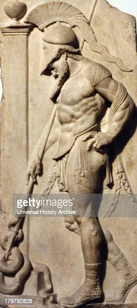 Greek warrior Hellenistic 1st century BC From Rhodes This marble grave relief shoes a warrior dressed in a cuirass and helmet leaning on his spear in...