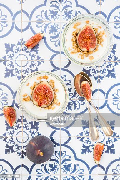 Greek yogurt with granola and figs