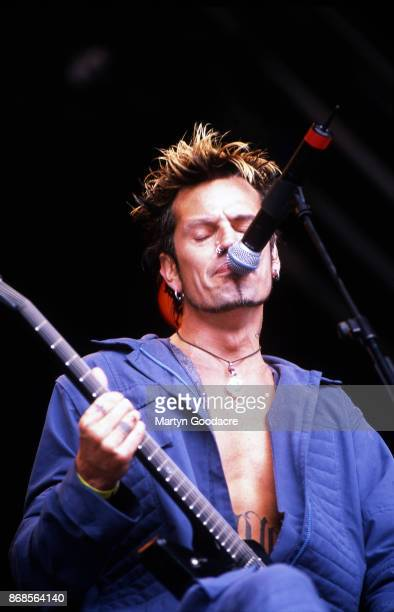 GreekAmerican musician Tommy Lee performs on stage with Masters Of Mayhem Glastonbury Festival United Kingdom 23rd June 2000